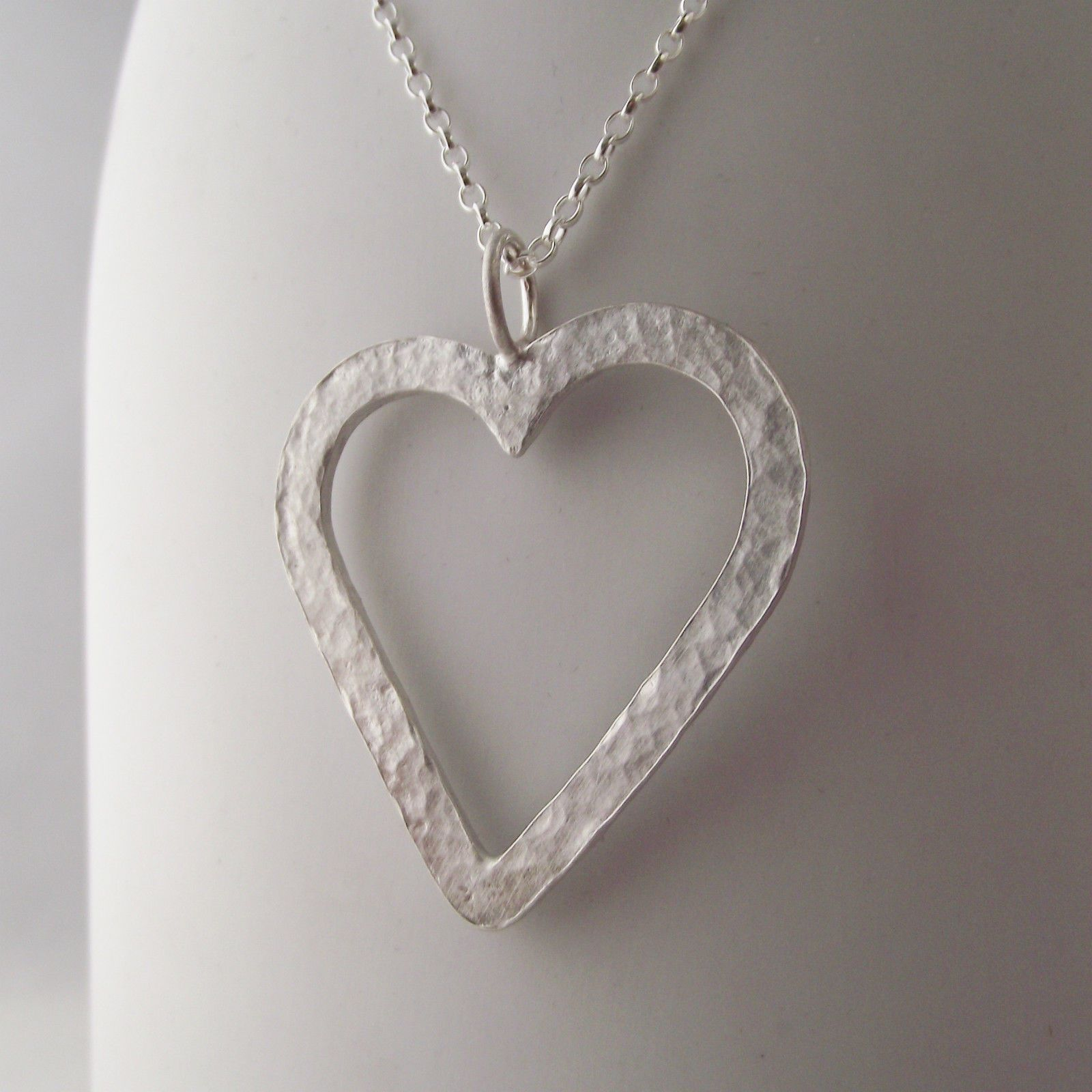 813f1a6a90fc3 Stunning Necklace Handmade Sterling Silver Hammer Finish Large Heart ...